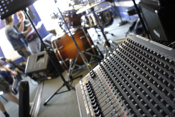 mixer in music studio at angle