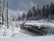 oregon snow covered stream