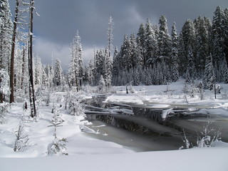 oregon snow covered stream