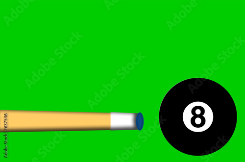 eight ball with cue stick