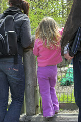 little girl with mother looking over fence
