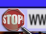 stop button on browser with magnifying glass poster