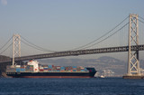 container ship under bridge