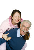 girl and her father having fun poster