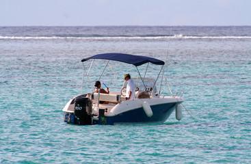 power boat at anchor