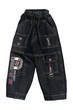 children boy black jeans shorts isolated