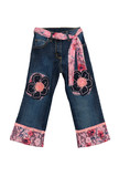 blue children girl jeans with pink flowers pattern isolated on w poster