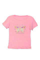 children girl pink t-shirt isolated