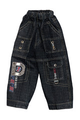 children boy black jeans shorts isolated