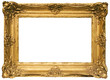 Leinwanddruck Bild - gold plated wooden picture frame w/ path (wide)