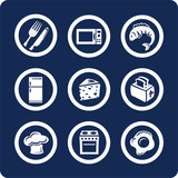 food and kitchen icons (set 9, part 2) poster
