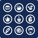 food and kitchen icons (set 9, part 1) poster