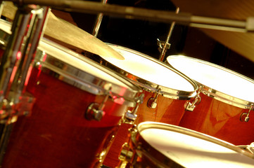 drum set during performance of music band