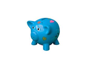 tirelire cochon bleu