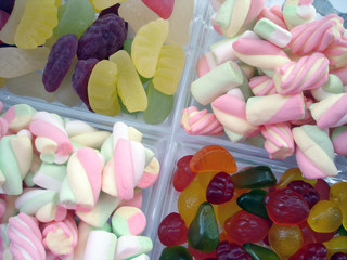 marshmallows and gummi candies