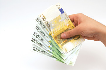euro in hand