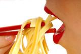 woman eating pasta 4 poster
