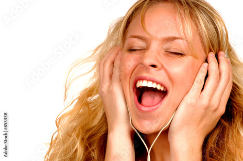 poster of woman with headphones