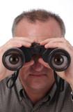 cartoon eyes in binoculars poster