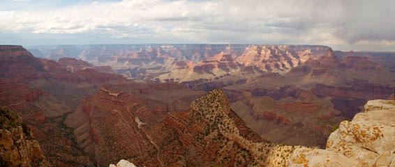 grand canyon with cloudy skies panorama