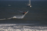 sailboarder rides  waves at punta san carlos