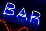 blue neon sign bar poster