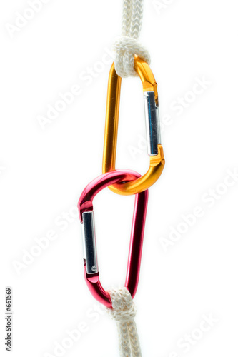 climbing gear against white background