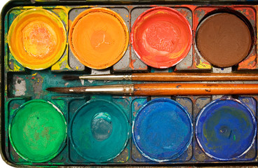 box of watercolors (top view)