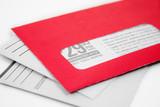 red advertising envelope poster