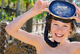 smiling boy wearing mask and snorkel poster