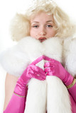 sexy marilyn impersonator wearing white fur stole poster