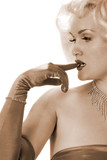 sexy marilyn impersonator biting on gloved finger poster