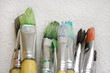 bunch of paint brushes (close view)