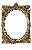 Fototapety dirty old ornamented oval picture frame w/ path