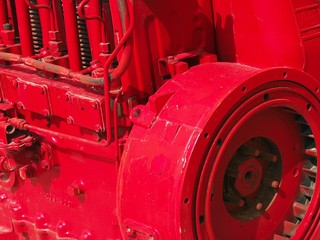 bright red industrial engine, close-up