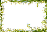 lily of the valley flowers on paper frame border isolated horizo poster