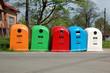 five waste separation bins