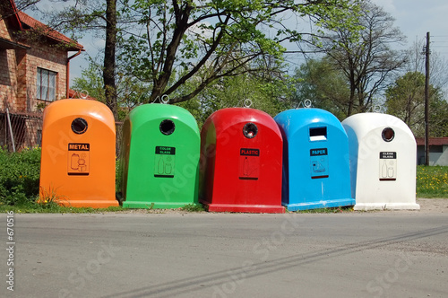 poster of five waste separation bins