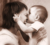 mother and baby sepia tones poster