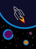 space ship cartoon poster