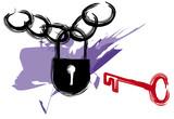 key to pad lock poster
