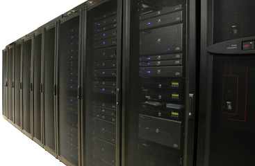 cabinets containing 1u and 2u servers