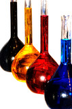 colorful chemistry liquid glass retorts isolated poster