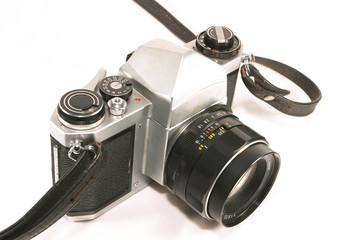closeup of retro camera