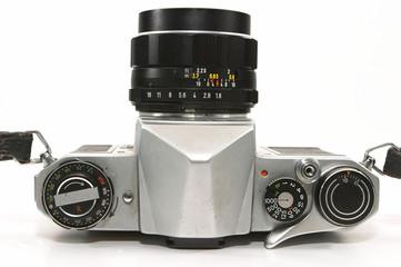 closeup of retro camera from top