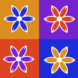 four panel colorful flower illustration poster