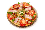 pizza with mushrooms and ham isolated poster