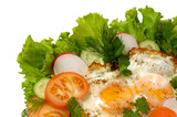 chicken eggs with greens isolated poster