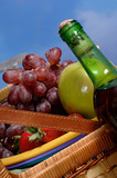 picnic basket with fruit poster
