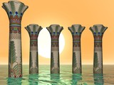 egyptian sea pillars poster